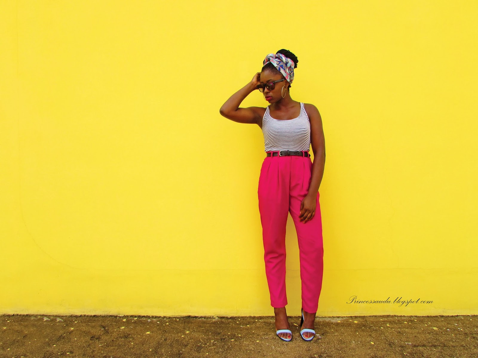 ankara headwrap, how to rock ankara, pink trousers