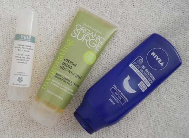 Ren hydra calm global protection day cream, Organic surge citrus mint shower gel, Nivea in shower body moisturiser skin conditioner
