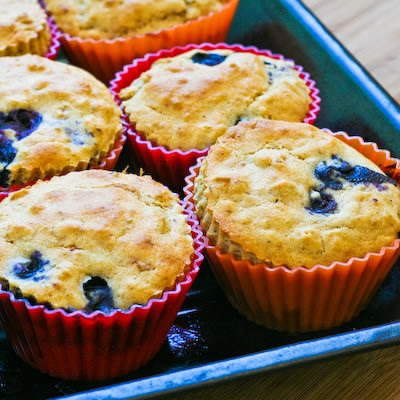 Low-Sugar Whole Wheat and Oatmeal Blueberry Muffins with Lemon .