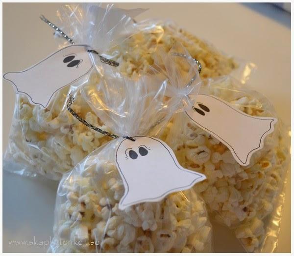Popcornpåsar till halloween - spökbajs