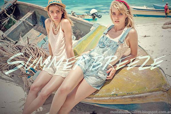 Moda verano 2015. Sweet verano 2015. Enteritos de jeans 2015.