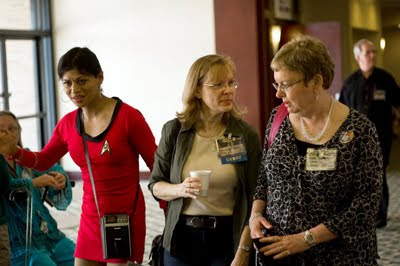 Marianne Dyson (center) and other participants of Apollocon 2011
