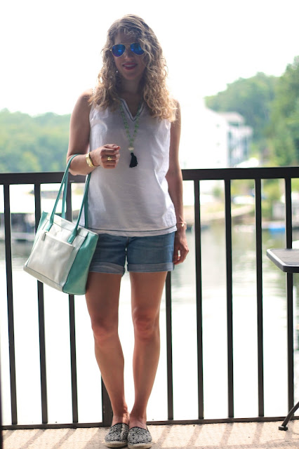 white swiss dot tank, jean shorts, espadrilles, tassel necklace, mint and white tote