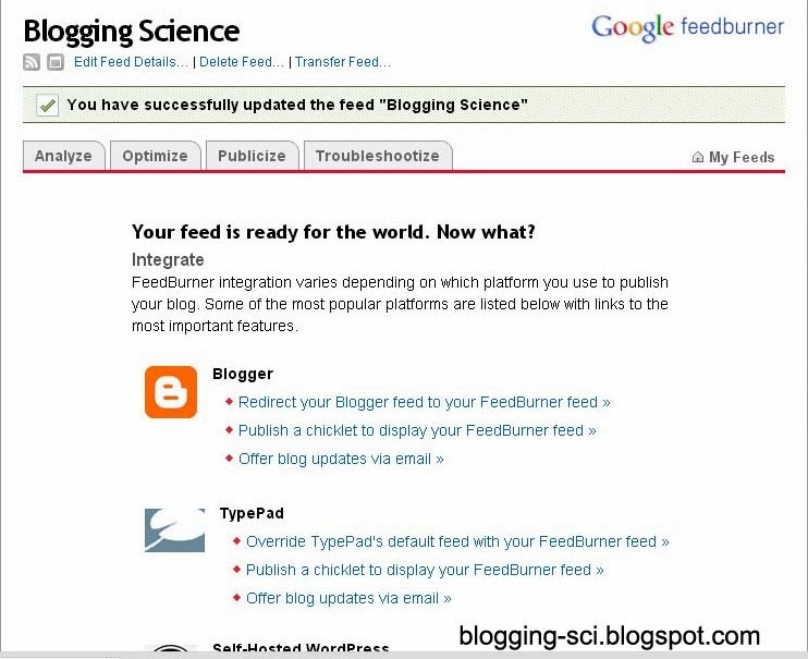 halaman feedburner apabila registrasi berhasil