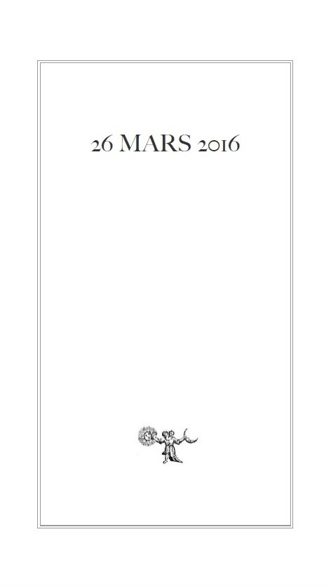 Guy CABANEL « 26 MARS 2016 », Collection de l'UMBO, 2016