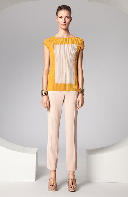 escada kısa kollu sarı - krem hırka, dar kesim beyaz kumaş pantolon