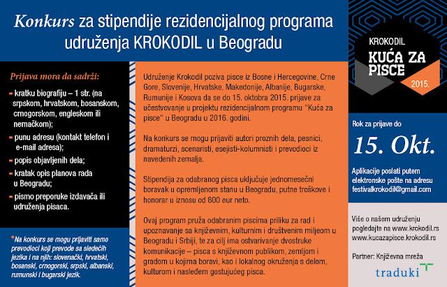Konkurs za rezidencijalne boravke za pisce u Beogradu