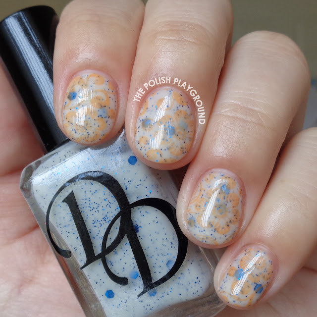 Orange Floral Burst Stamping Nail Art