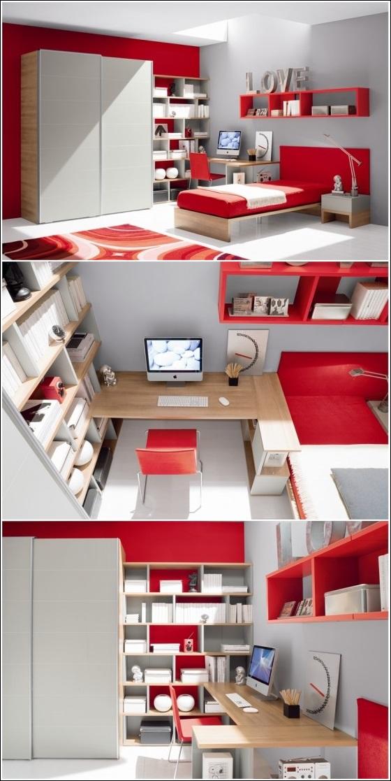 Deco chambre interieur inspiration de d cor en rouge vif - Chambre rouge et gris ...