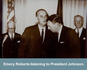Secret Service agent Emory Roberts with LBJ
