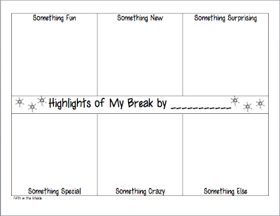 http://www.teacherspayteachers.com/Product/Highlights-of-My-Break-Activity-468649
