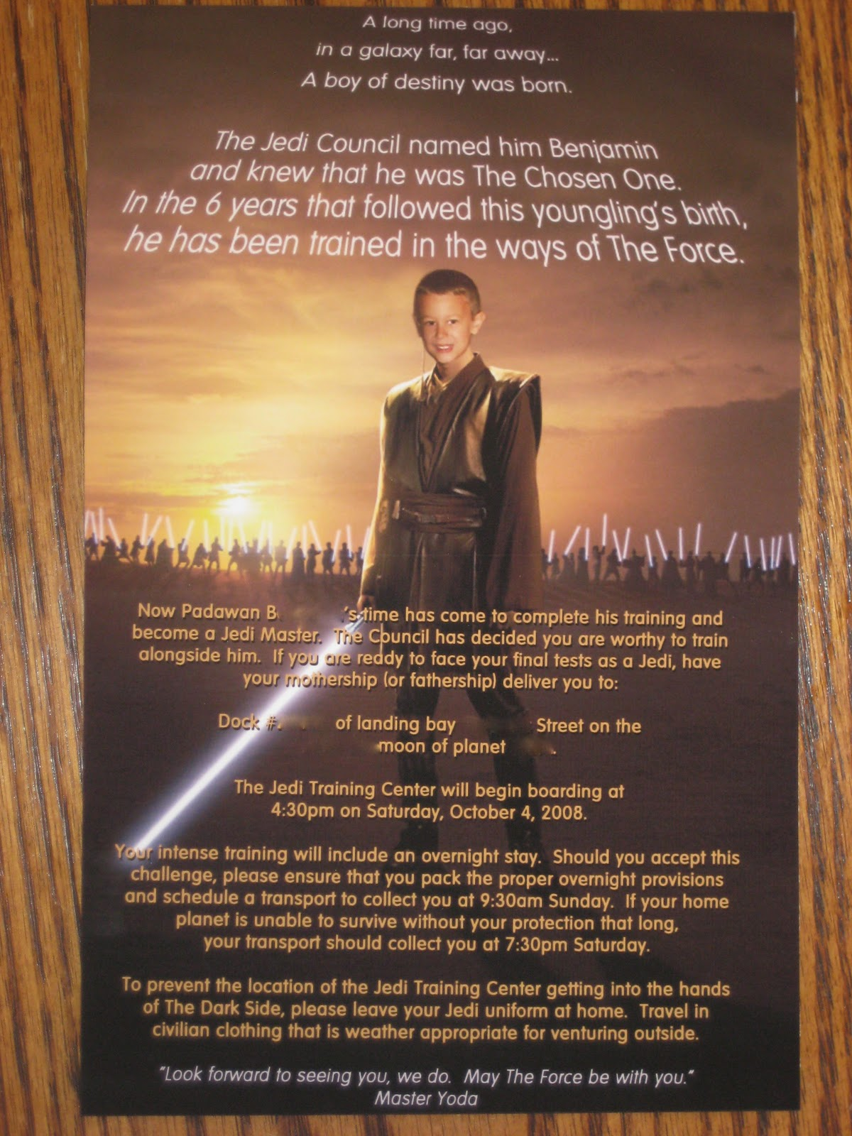 You me and b star wars jedi training academy birthday party and heres the inside of the invitation the wording says stopboris Gallery
