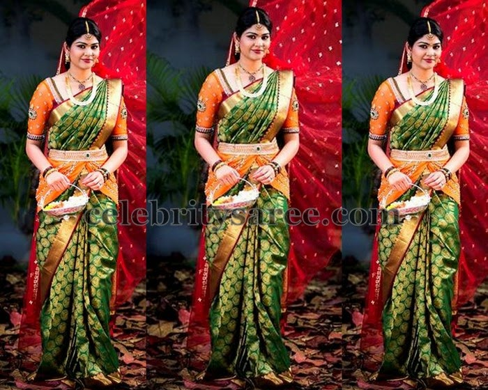 Bride in Green Kanjivaram Saree