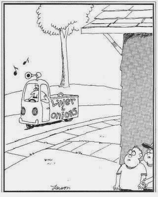 Gary Larsen Far Side cartoon - Liver and Onions Truck
