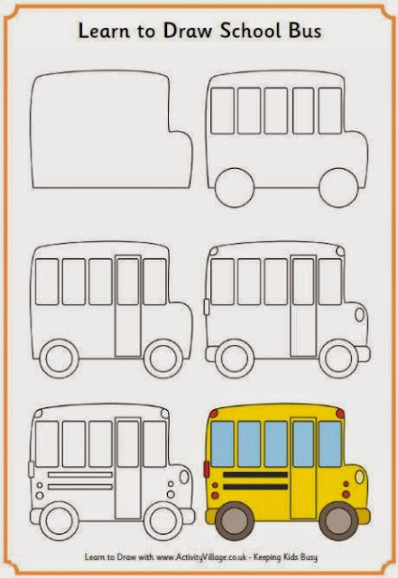 Learn to draw school bus for kids anak