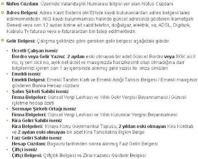 BANKA KREDİSİ BELGELERİ