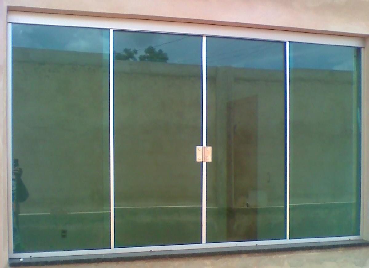 #364B68  SERRALHERIA: Janela correr 4 folhas vidro verde aluminio fosco 286 Janelas De Vidro Sanfonadas
