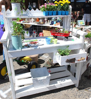 White Potting Bench with wire back