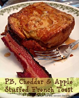 pb, cheddar & apple stuffed french toast