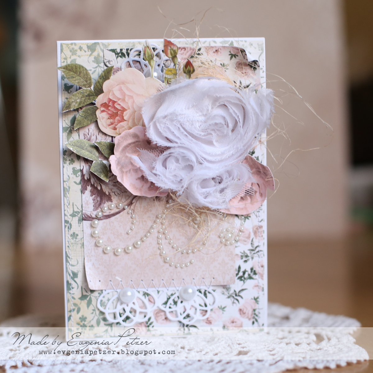 Wedding in pink Card by Evgenia Petzer using BoBunny Rose Cafe