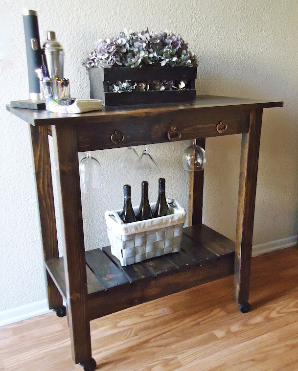 Kitchen Island / Rolling Bar Cart  with Vintage Hardware - SOLD