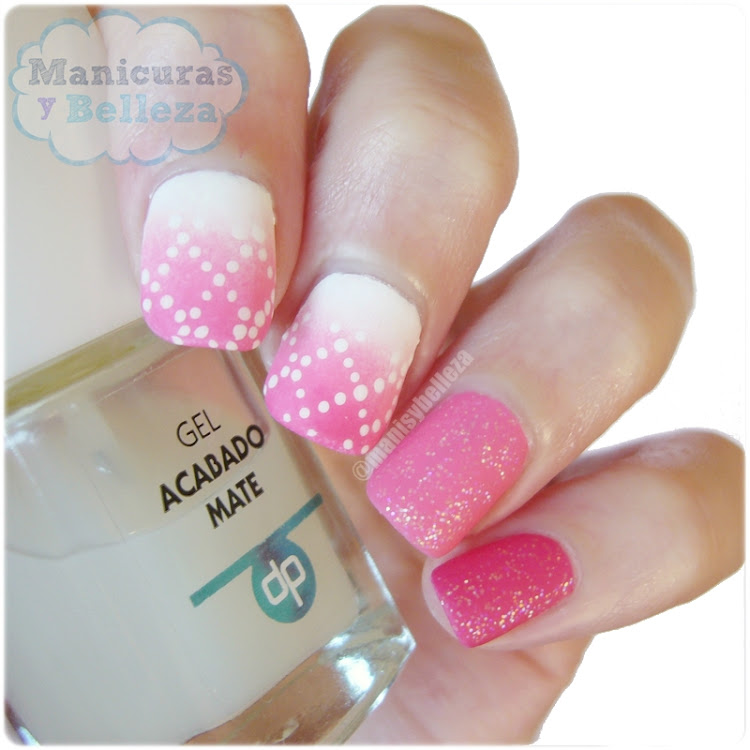 Nail art degradado rosa rombos puntos uñas decoradas