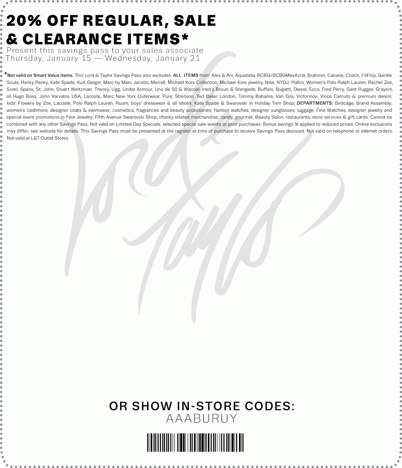 Lord and taylor discount coupon