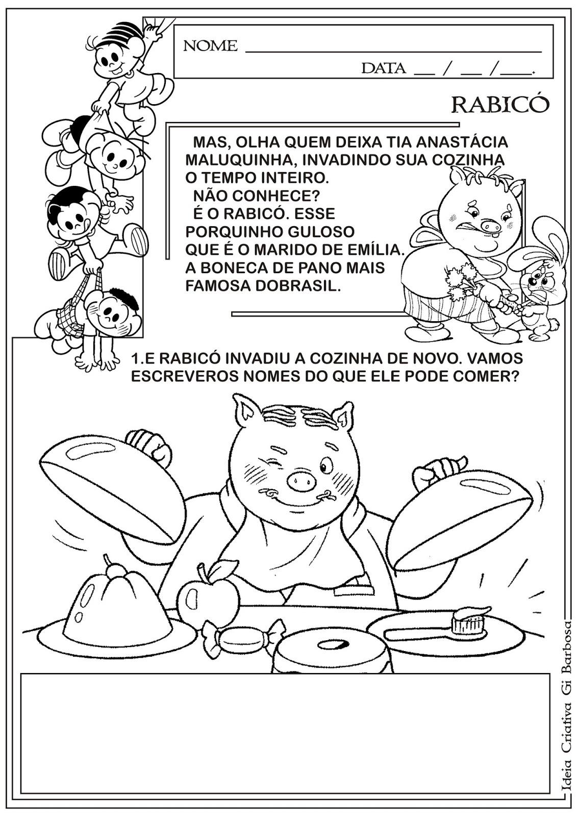 Atividades Sítio do Pica Pau Amarelo Rabicó