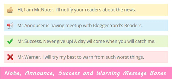 Success and Warning Boxes For Blogger