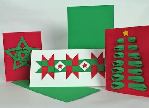 Ashbee design diy christmas cards woven paper designs for Addobbi di natale scuola primaria