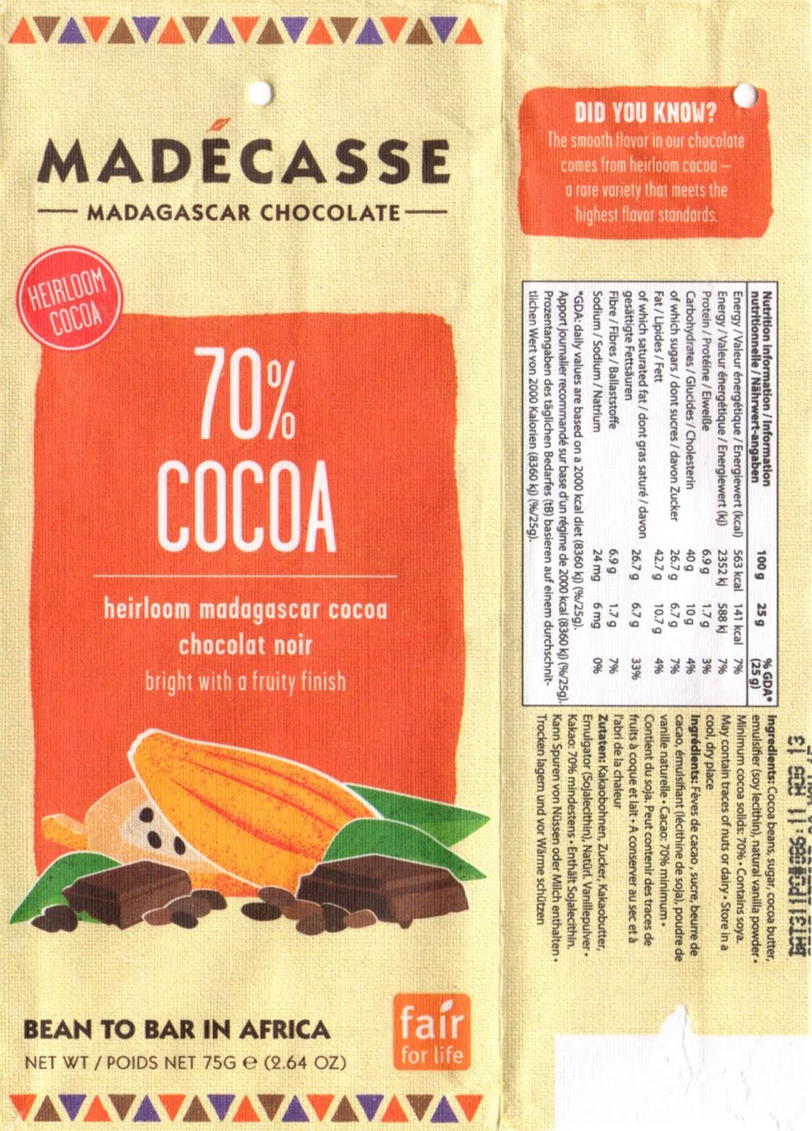 tablette de chocolat noir dégustation madécasse dark cocoa 70