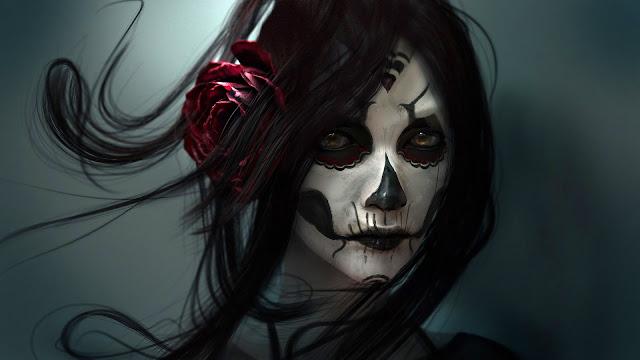 Sugar skull bodyart HD Wallpaper