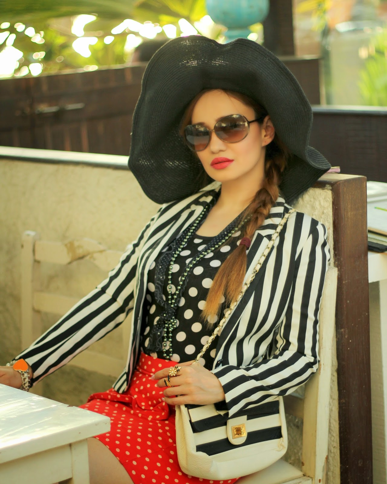Striped Blazer,Polka dot top & Polka dot skirt