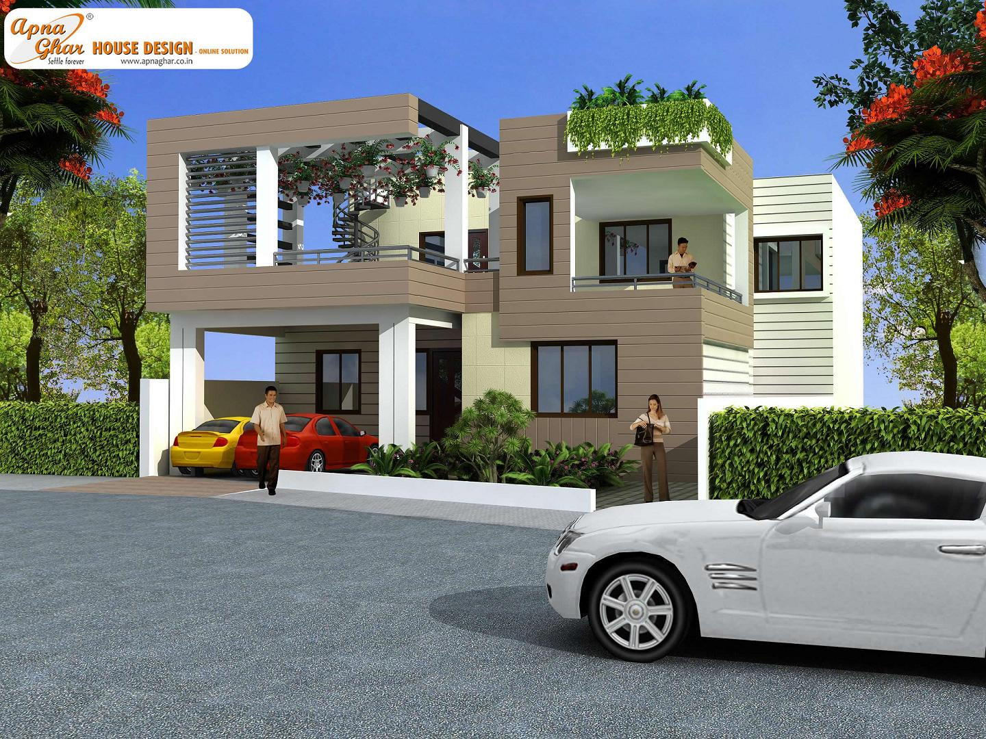 Modern beautiful duplex house design home decorating ideas for Duplex ideas