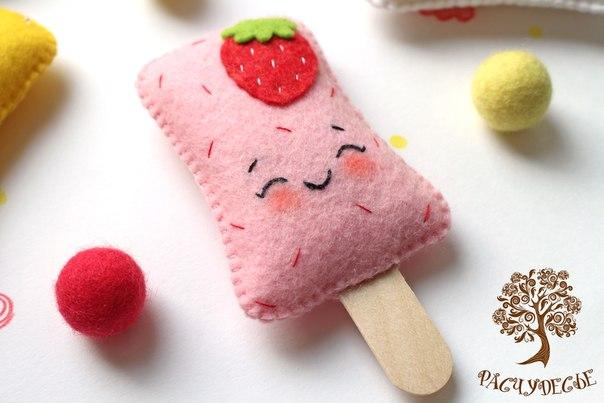 Пенал мороженое из фетра