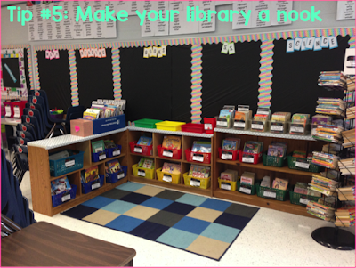 classroom library nook teacher hack back to school organization