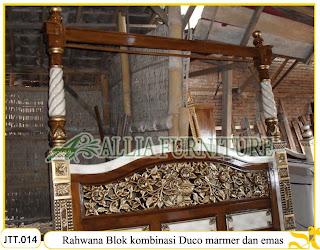 Tempat Tidur Kanopi Ukiran Rahwana Blok Paduan Duco marmer Keramik dan emas Jakarta