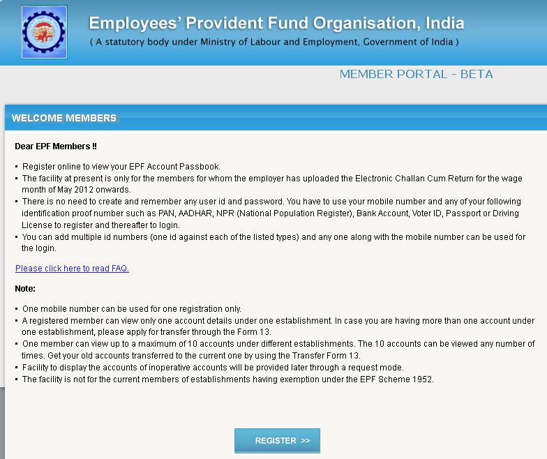 Check Epf Account Passbook Online Register At Http