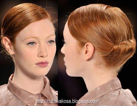лъскава прическа с гладка прибрана коса