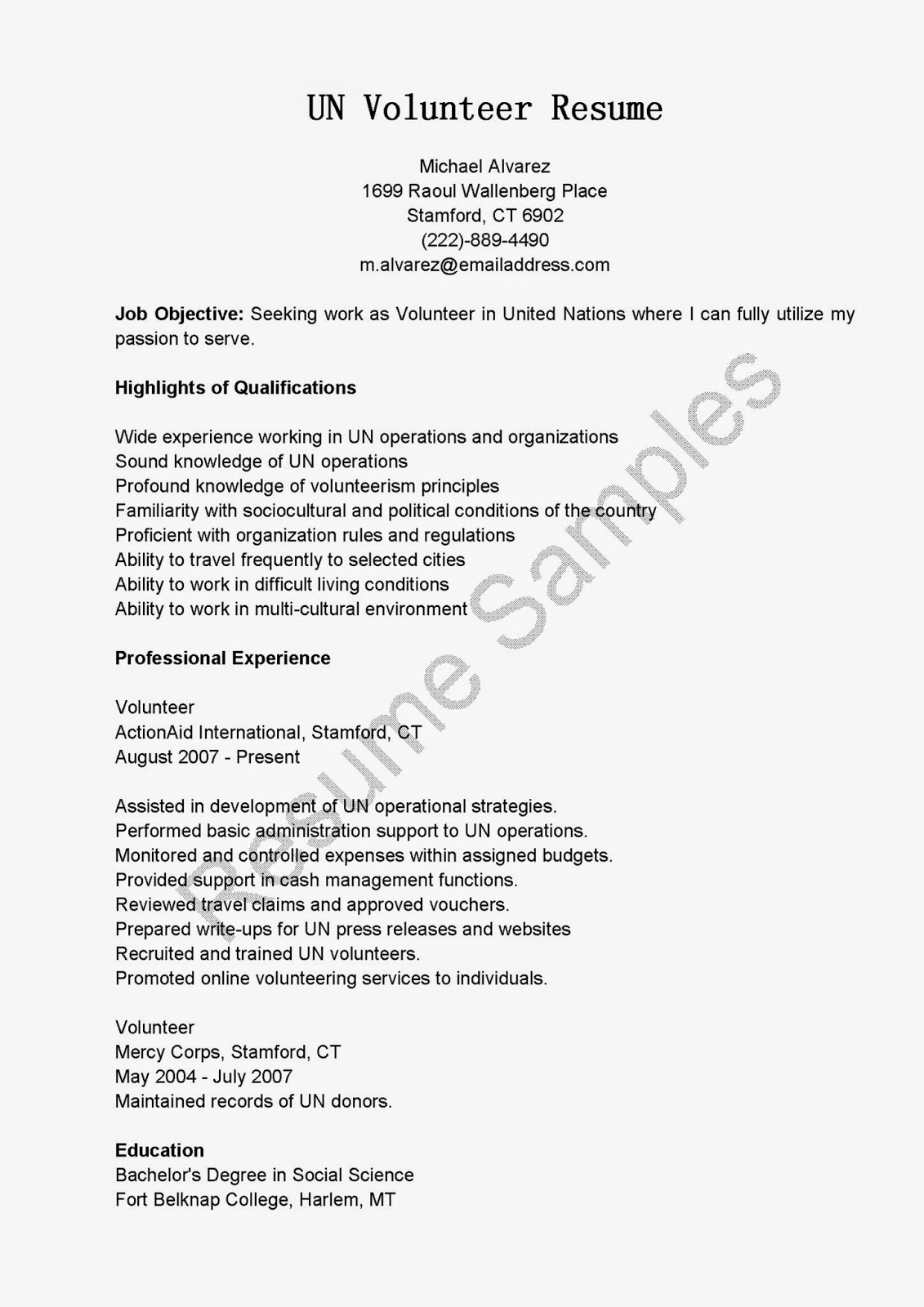 resume samples  un volunteer resume sample