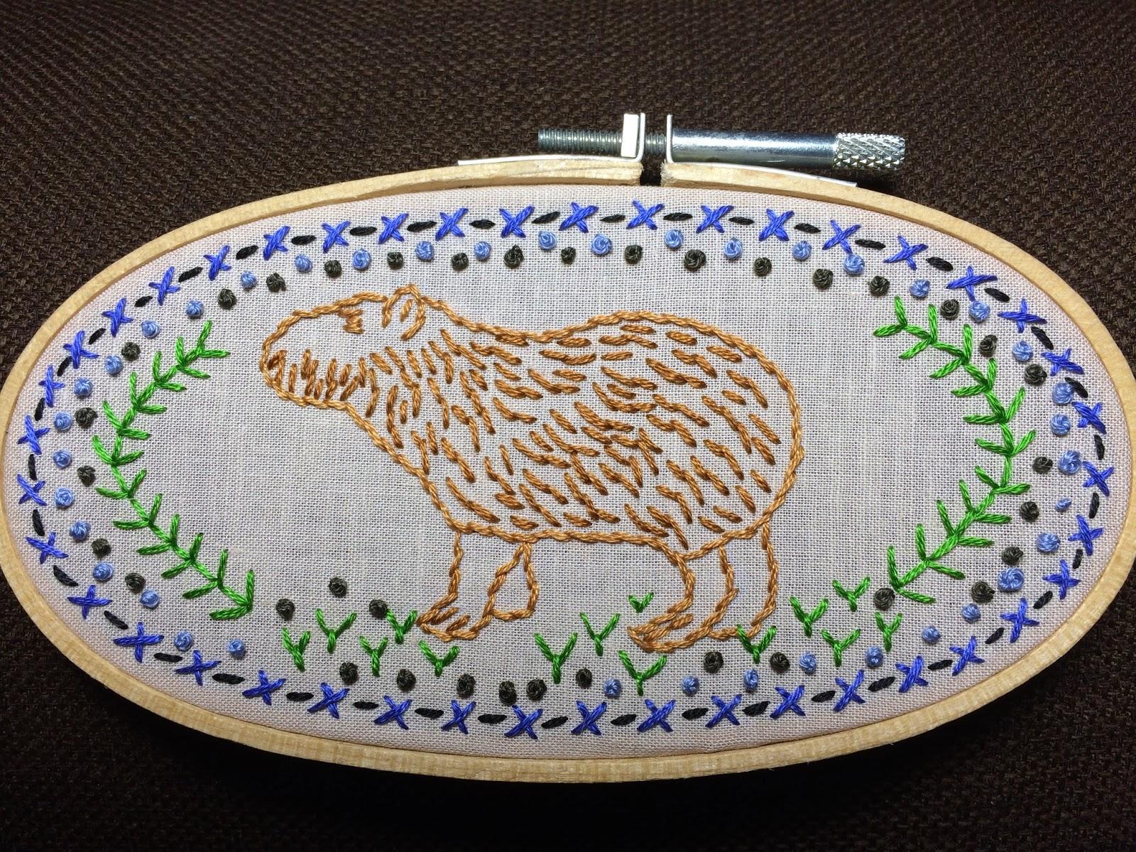 Capybara embroidery