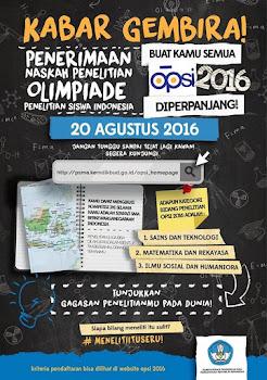 Update News FOSCA : OPSI 2016 (Olimpiade Penelitian Siswa Indonesia)