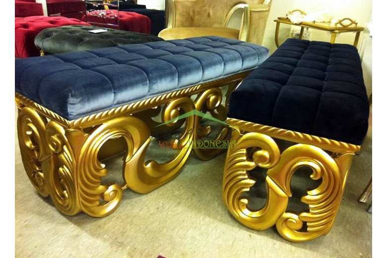 Gold Leaf Ottoman Bench