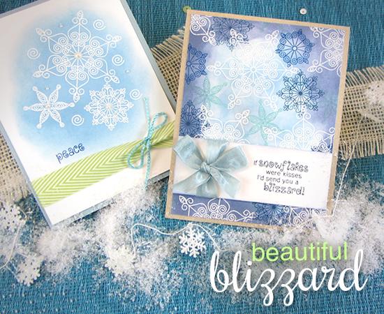 Snowflake Cards by Jennifer Jackson | Beautiful Blizzard Snowflake Stamp set by Newton's Nook Designs