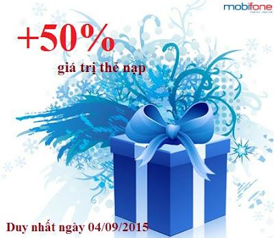 Khuyến mãi 50% giá trị thẻ nạp Mobifone ngày 04/09