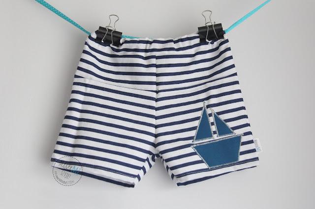 krótkie spodnie na lato, z aplikacją, spodenki z łódką, spodenki bawełniane