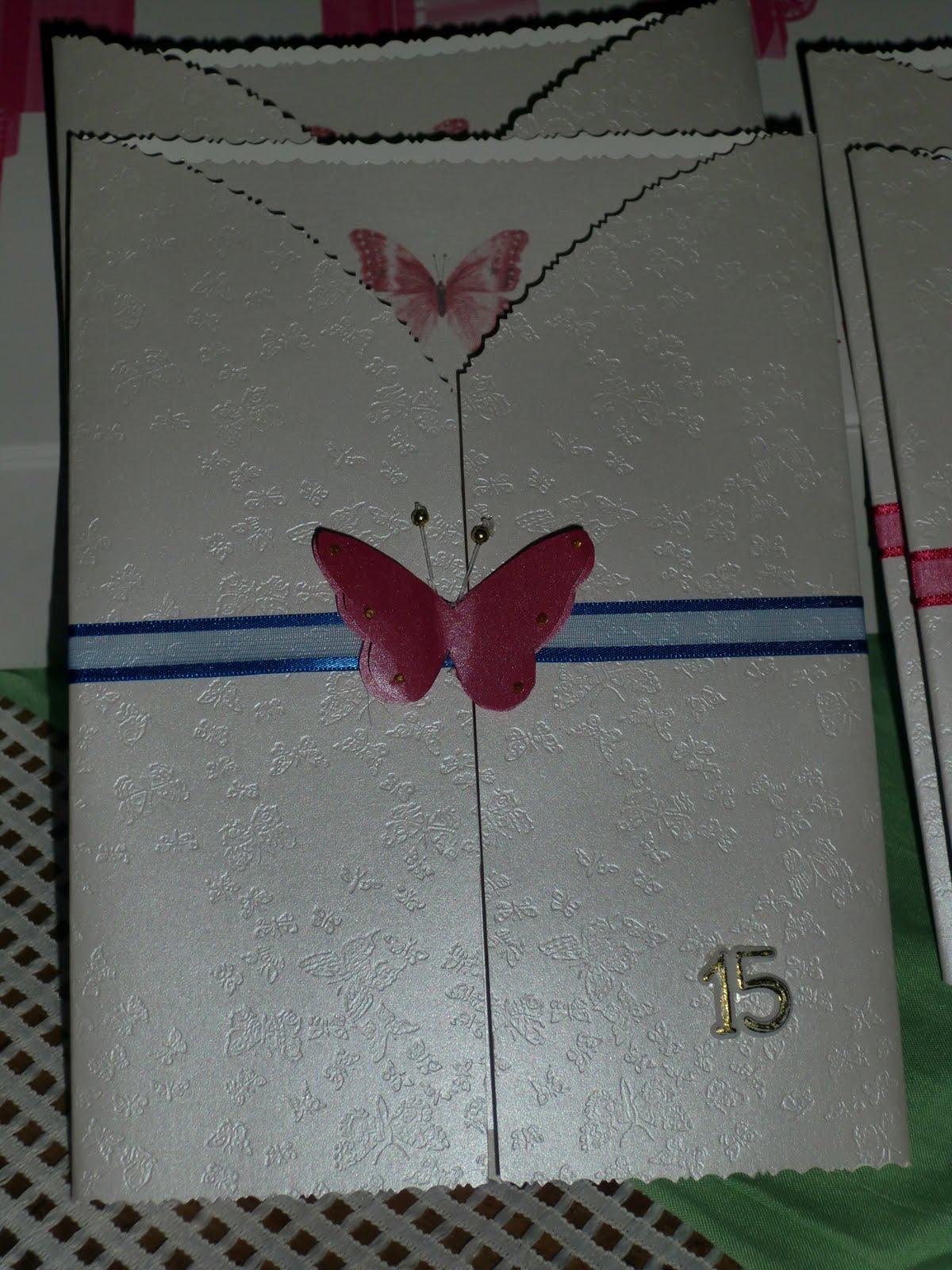 Creaciones Mis Angeles: Tarjetas de invitación. 15 años de mariposa