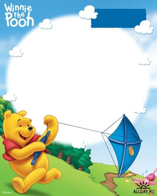 Pack de marcos para fotos de Winnie Pooh para Photoshop | Cute e Girly