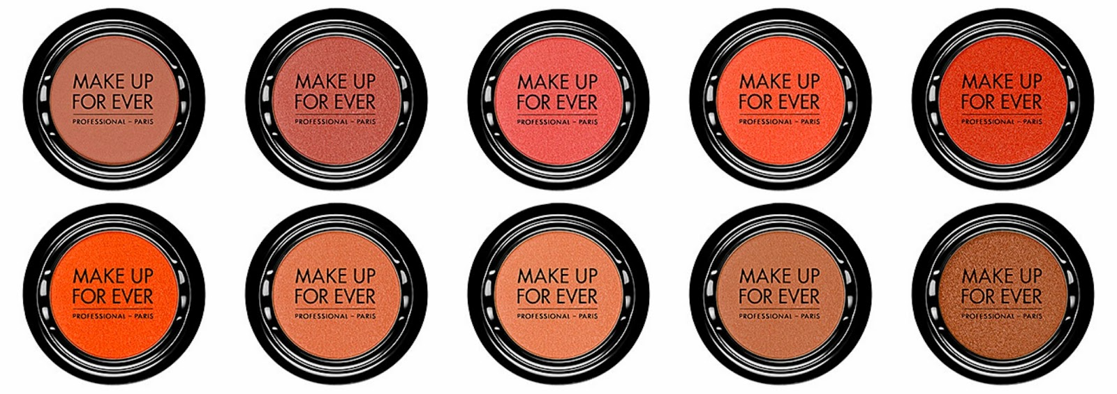 Make Up For Ever Artist Shadow Top from left: S814 Light Rosewood; S812 Tea Pink; S800 Grenadine; S748 Coral; S742 Tomato  Bottom from left: S732 Orange; S718 Salmon; S714 Bisque; S710 Peach; S706 Milk Toffee
