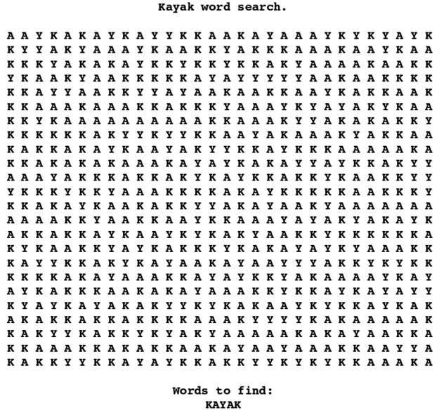 sopa de letras, encuentra la palabra kayak, encuentra kayak, kayak, kayak.es, kayak word search,